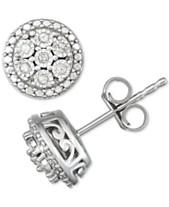 93c828d5d72ff8 Diamond Cluster Stud Earrings (1/10 ct. t.w.) in Sterling Silver