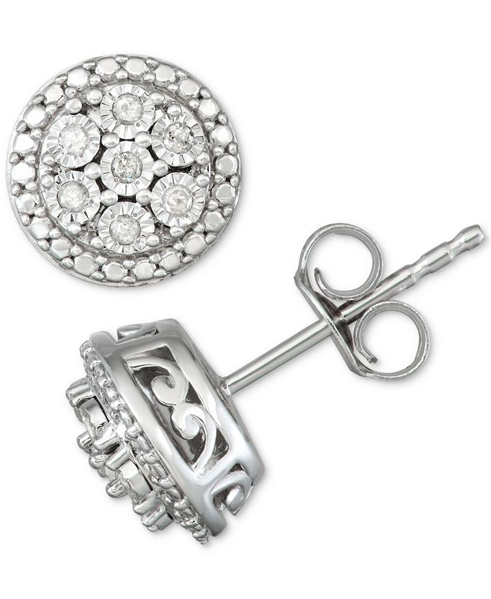 Macy's - Diamond Cluster Stud Earrings (1/10 ct. t.w.) in Sterling Silver