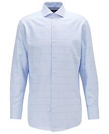BOSS Men's Mark US Slim-Fit Over-Check Cotton Twill Shirt