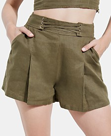 GUESS Nydia Printed Lace-Up Shorts