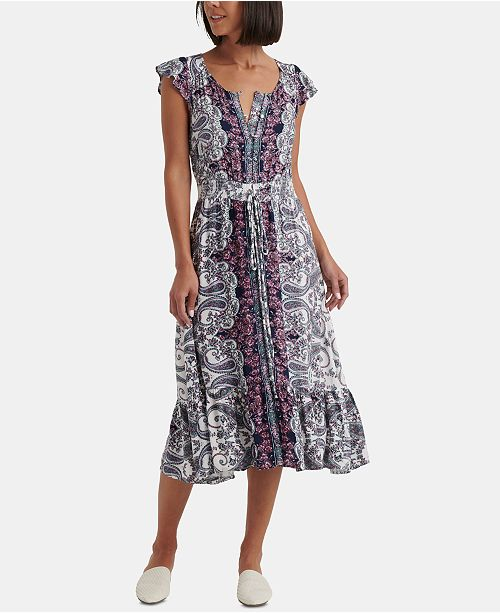 Lucky Brand Felecia Smocked Midi Dress
