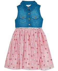 Rare Editions Little Girls Denim & Star-Print Mesh Dress