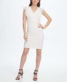 V-Neck Ruffle Cap Sleeve Lace Sheath Dress