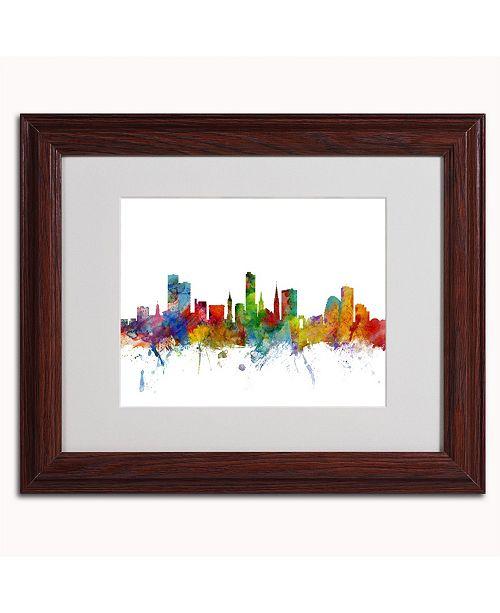 "Trademark Global Michael Tompsett 'Leicester England Skyline II' Matted Framed Art - 14"" x 11"""