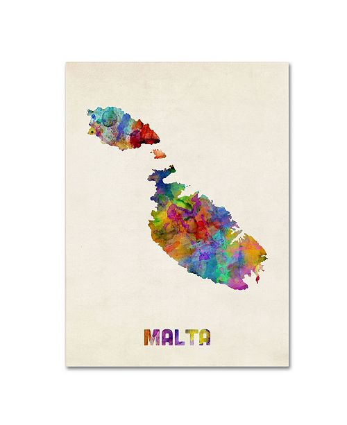 "Trademark Global Michael Tompsett 'Malta Watercolor Map' Canvas Art - 14"" x 19"""