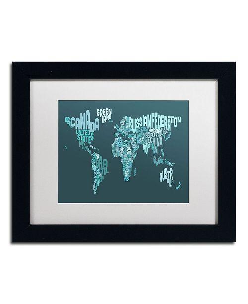 """Trademark Global Michael Tompsett 'Text Map of the World II' Matted Framed Art - 14"""" x 11"""""""