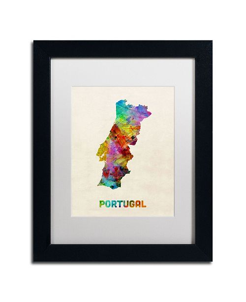 "Trademark Global Michael Tompsett 'Portugal Watercolor Map' Matted Framed Art - 14"" x 11"""