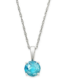 "Blue Topaz 18"" Pendant Necklace in 14k White Gold (5/8 ct. t.w.)"