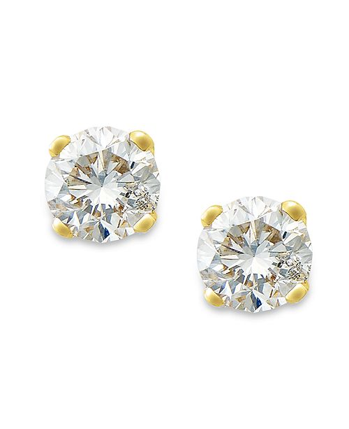 Macy's Round-Cut Diamond Stud Earrings in 10k White or Yellow Gold (1/5 ct. t.w.)