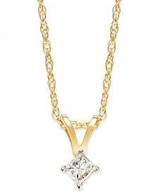 10k Gold Necklace, Diamond Accent Princess-Cut Pendant