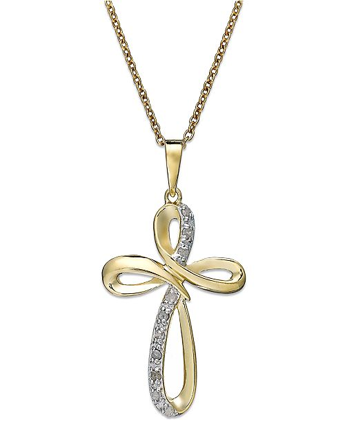 Macy's Diamond Cross Pendant Necklace in 18k Gold over Sterling Silver (1/10 ct. t.w.)