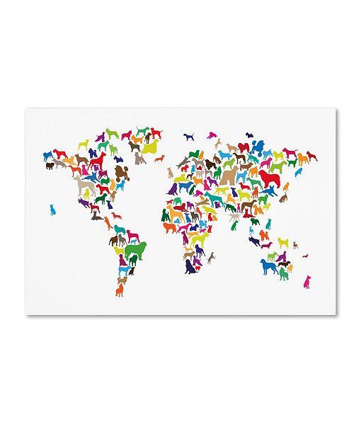 "Trademark Global Michael Tompsett 'World Map of Dogs 2' Canvas Art - 12"" x 19"""