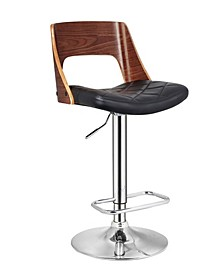 Bentwood Wood Bar Stool with Diamond Quilted Finish Curved Seat and Back