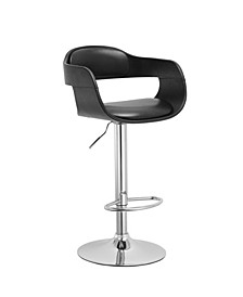 Contemporary Swivel Adjustable Barstool with Padded Seat and Back