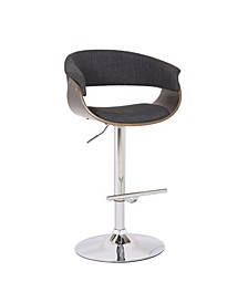Weathered Oak Modern Swivel-Adjustable Barstool with Armrests