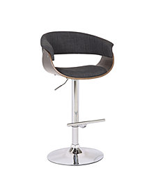 AC Pacific Weathered Oak Modern Swivel-Adjustable Barstool with Armrests