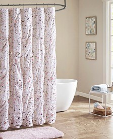 Intelligent Design Abby Pintucked Metallic Printed Shower Curtain
