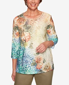 Alfred Dunner Petite Lake Tahoe Mixed-Print Top