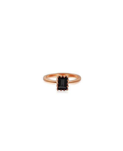 Macy's Rectangle Smoky Quartz (1 ct. t.w.) Stack Ring Set in Gold Plated Sterling Silver