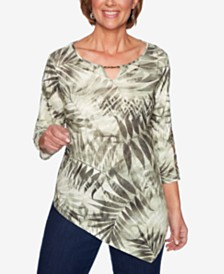 Alfred Dunner Lake Tahoe Printed Asymmetrical Top