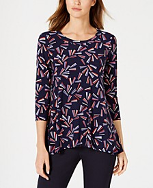 Abstract-Print Trapeze Top