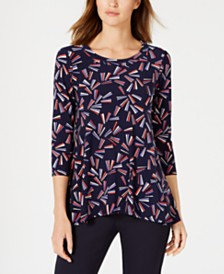 Anne Klein Abstract-Print Trapeze Top