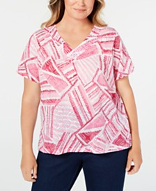 Alfred Dunner Plus Size Classic Embellished V-Neckline T-Shirt