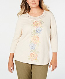 Plus Size Lake Tahoe Embroidered Crochet Trim Top