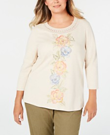 Alfred Dunner Plus Size Lake Tahoe Embroidered Crochet Trim Top