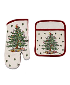 Spode Christmas Tree Pot Holder and Oven Mitt Set