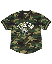 Mitchell & Ness Men's Boston Celtics Camo Mesh V-Neck Jersey Top