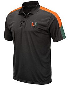 Colosseum Men's Miami Hurricanes Color Block Polo