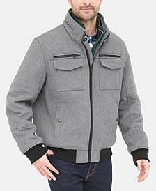 Men's Wool Blend Bomber Jacket, Created for Macy's