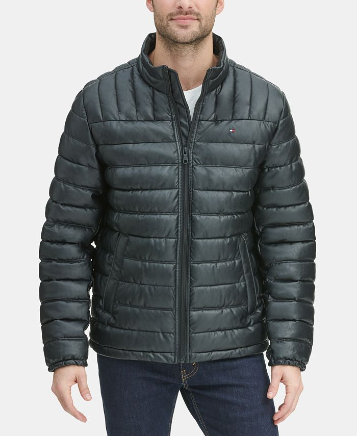 Tommy Hilfiger - Men's Quilted Faux Leather Puffer Jacket