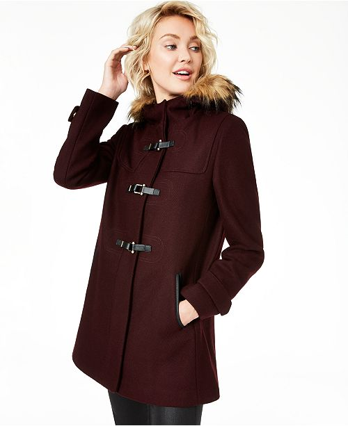 Cole Haan Petite Faux-Fur-Trim Hooded Walker Coat