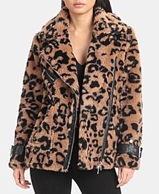 Leopard-Print Faux-Fur Moto Jacket