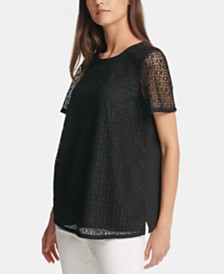 DKNY Logo Lace Illusion Top