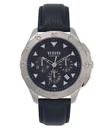 Versus Men's Blue Leather  Strap Watch 22mm