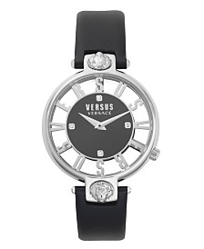 Versus Women's Black Leather Strap Watch 16mm