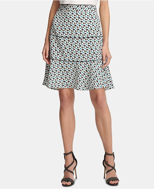 DKNY Printed Tiered A-Line Skirt