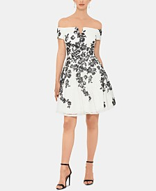 XSCAPE Embroidered Fit & Flare Dress