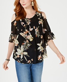 Style & Co Floral-Print Cold-Shoulder Top, Created for Macy's