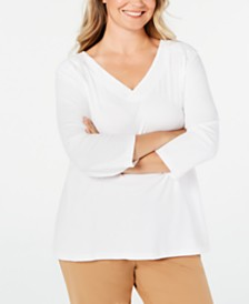 Karen Scott Plus Size Cotton Eyelet-Trim Top, Created for Macy's