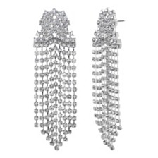 Steve Madden Women's Fringe Chain Silver-Tone Earrings