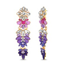 Steve Madden Women's Multi-Color Rhinestone Flower Cluster Drop Gold-Tone Earrings