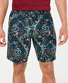 "Tasso Elba Men's Paisley-Print Linen 9"" Shorts, Created for Macy's"