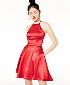 Juniors' Tie-Back Satin A-Line Dress