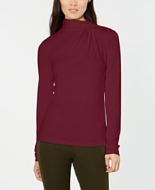 Elie Tahari Carrie Gathered Turtleneck Top