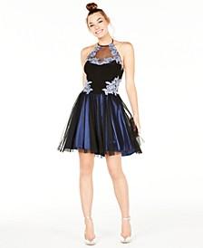 Juniors' Embellished Fit & Flare Dress