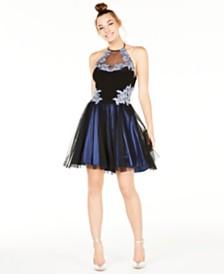Blondie Nites Juniors' Embellished Fit & Flare Dress